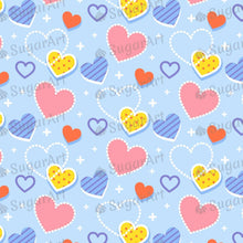 Load image into Gallery viewer, Hearts on Blue Background - Icing - ISA210