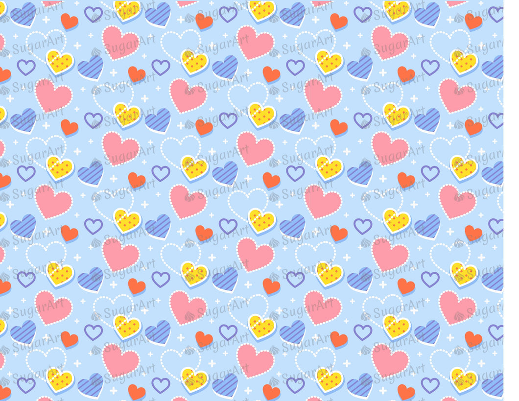 Hearts on Blue Background - Icing - ISA210