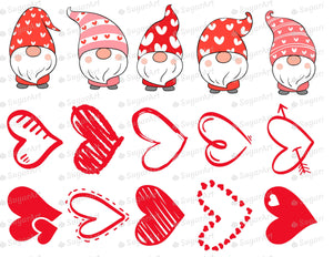 Cute Gnomes and Hearts Valentine Set - Icing - ISA215