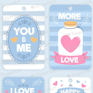 Collection of 8 Labels for Valentine - Icing - ISA218