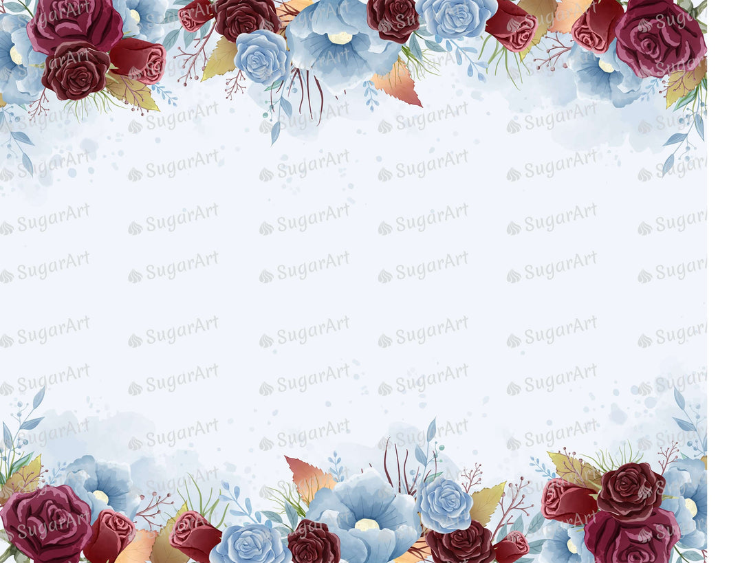 Burgundy and Dust Blue Roses - Icing - ISA226