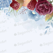 Load image into Gallery viewer, Burgundy and Dust Blue Roses - Icing - ISA226