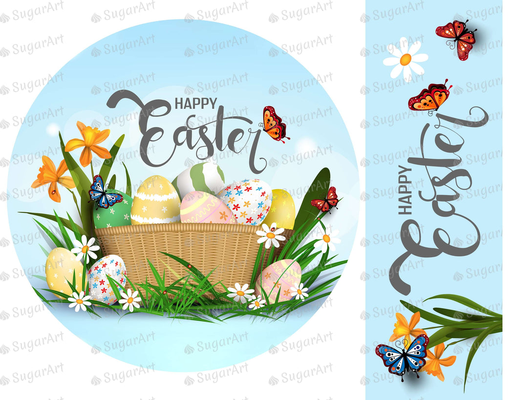 Happy Easter Round Topper for Cake - Icing - ISA234