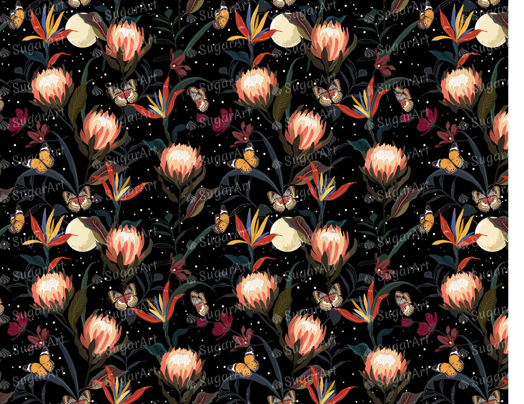 Protea Flowers Garden Pattern - Icing - ISA241