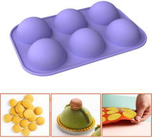 "Load image into Gallery viewer, Purple Half Sphere Silicone Baking Mold - 6 Cavity 2"" (5.2cm) each"