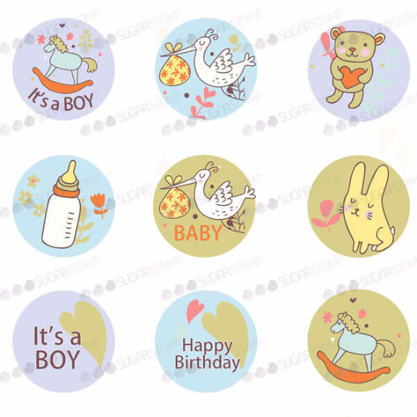Especially for the new born baby boy - B03-Sugar Stamp sheets-Sugar Art