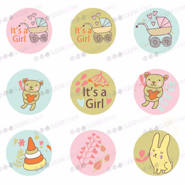 Especially for the new born baby girl - B04-Sugar Stamp sheets-Sugar Art