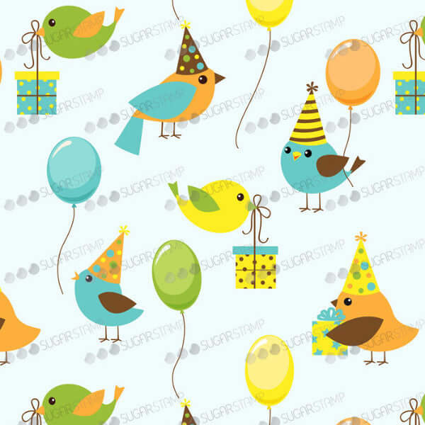 Happy, Happy Birthday - B53-Sugar Stamp sheets-Sugar Art