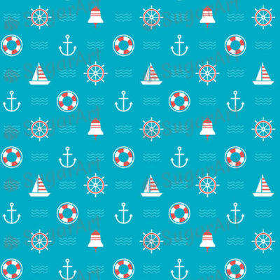Nautical, Anchor and Sail Boat Pattern - BSA004