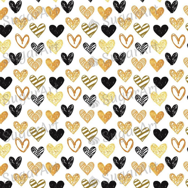 Golden and Black Hearts background - BSA045