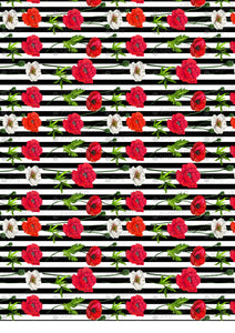Red Poppy Flowers Pattern Striped - BSA071-Sugar Stamp sheets-Sugar Art