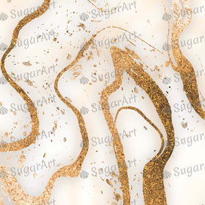 Realistic Golden Marble Background - BSA078 - Sugar Art Canada Meringue Transfer sheets