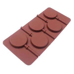 "Brown Silicone Mold for Lollipops - 5 Cavity 2"" (5cm) eachBrown Silicone Mold for Lollipops - 5 Cavity 2"" (5cm) each"