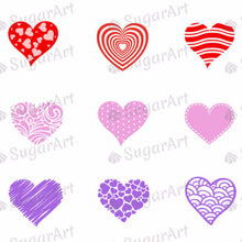 Load image into Gallery viewer, Funky Hearts! - E07-Sugar Stamp sheets-Sugar Art