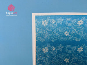Vintage Paisley Lace On Blue - Edible Fabric - EF012-Edible Fabric-Sugar Art