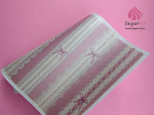 Load image into Gallery viewer, Elegant White Laces With Bow On Pink - Edible Fabric - EF014-Edible Fabric-Sugar Art