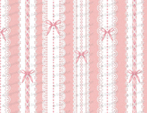 Elegant White Laces With Bow On Pink - Edible Fabric - EF014-Edible Fabric-Sugar Art