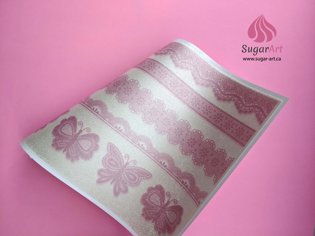 Dusty Rose Lace Borders and Butterflies - Edible Fabric - EF015-Edible Fabric-Sugar Art