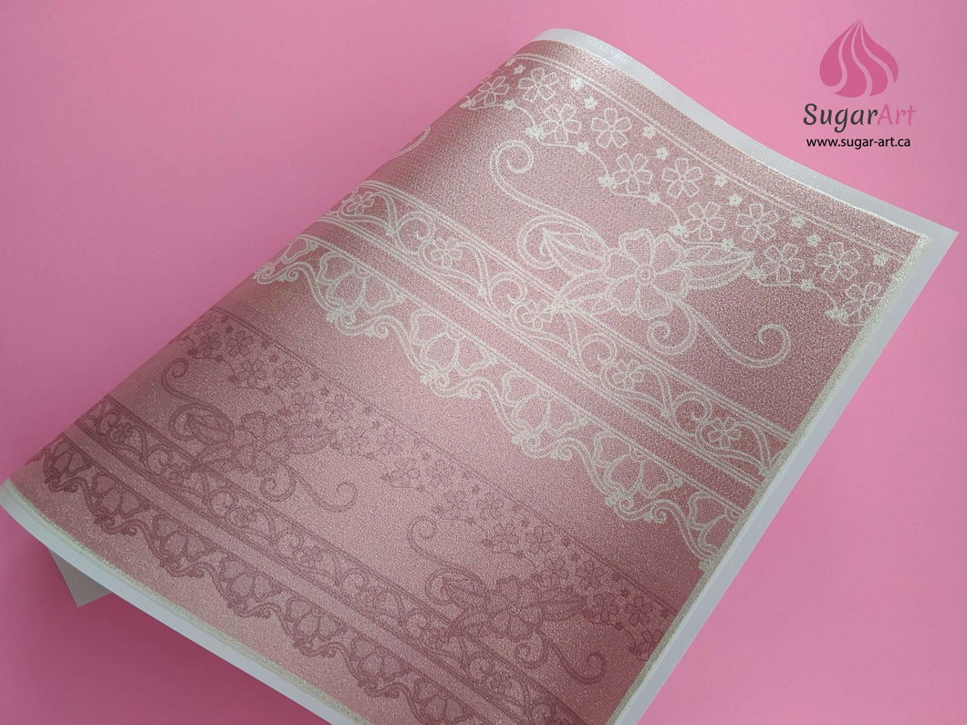 Baroque Style Fashion Lace On Peach - Edible Fabric - EF016-Edible Fabric-Sugar Art