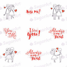 Load image into Gallery viewer, Romantic Couple in love - ESA001-Sugar Stamp sheets-Sugar Art