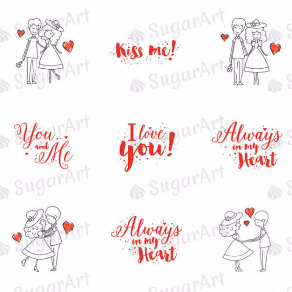 Romantic Couple in love - ESA001-Sugar Stamp sheets-Sugar Art