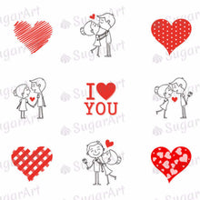 Load image into Gallery viewer, I love you, Couple in love - ESA002-Sugar Stamp sheets-Sugar Art