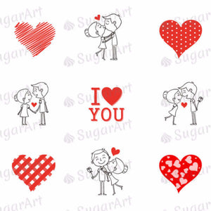 I love you, Couple in love - ESA002-Sugar Stamp sheets-Sugar Art