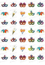 Load image into Gallery viewer, Colorful Carnival, Masks - 1.5 inch - ESA007-Sugar Stamp sheets-Sugar Art