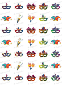 Colorful Carnival, Masks - 1.5 inch - ESA007-Sugar Stamp sheets-Sugar Art