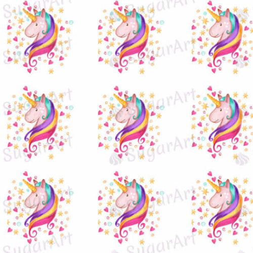 Watercolor Lovely Unicorn with Hearts and Stars - ESA013-Sugar Stamp sheets-Sugar Art
