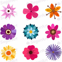Load image into Gallery viewer, Colorful Flowers Collection - ESA016-Sugar Stamp sheets-Sugar Art