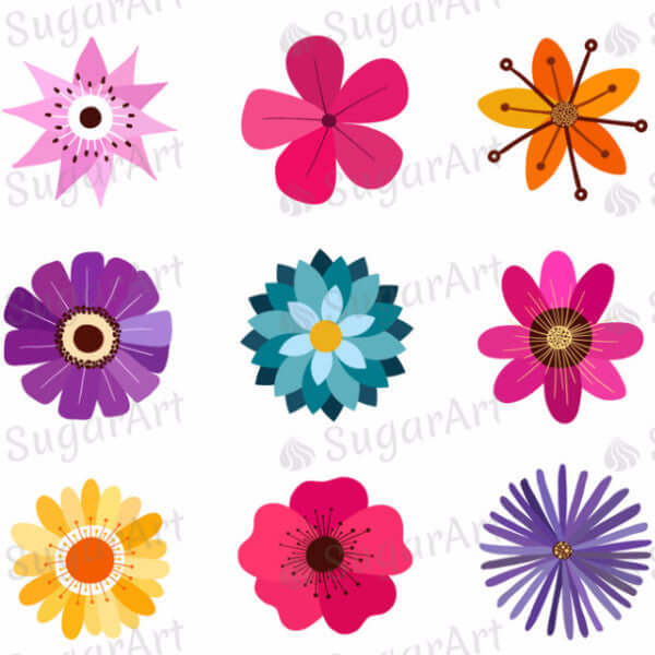 Colorful Flowers Collection - ESA016-Sugar Stamp sheets-Sugar Art