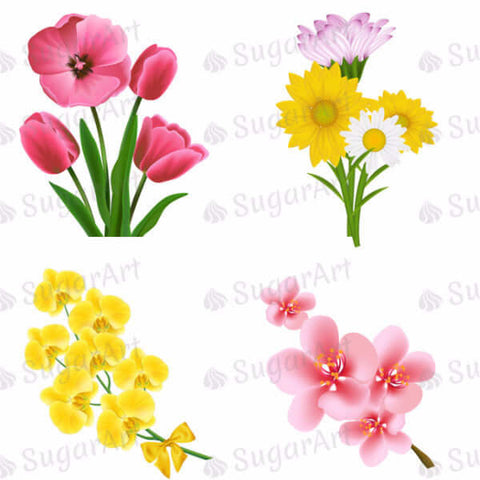 Set of Beautiful Realistic Flowers - 2 inch - ESA018