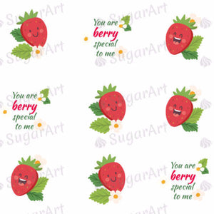 Funny Strawberries, You Are Berry Special To Me - ESA021-Sugar Stamp sheets-Sugar Art