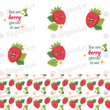 Load image into Gallery viewer, Funny Strawberries, You Are Berry Special To Me - ESA021-Sugar Stamp sheets-Sugar Art