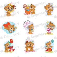 Load image into Gallery viewer, Teddy Bear Wishes a Happy Birthday for You - ESA053 - Sugar Art