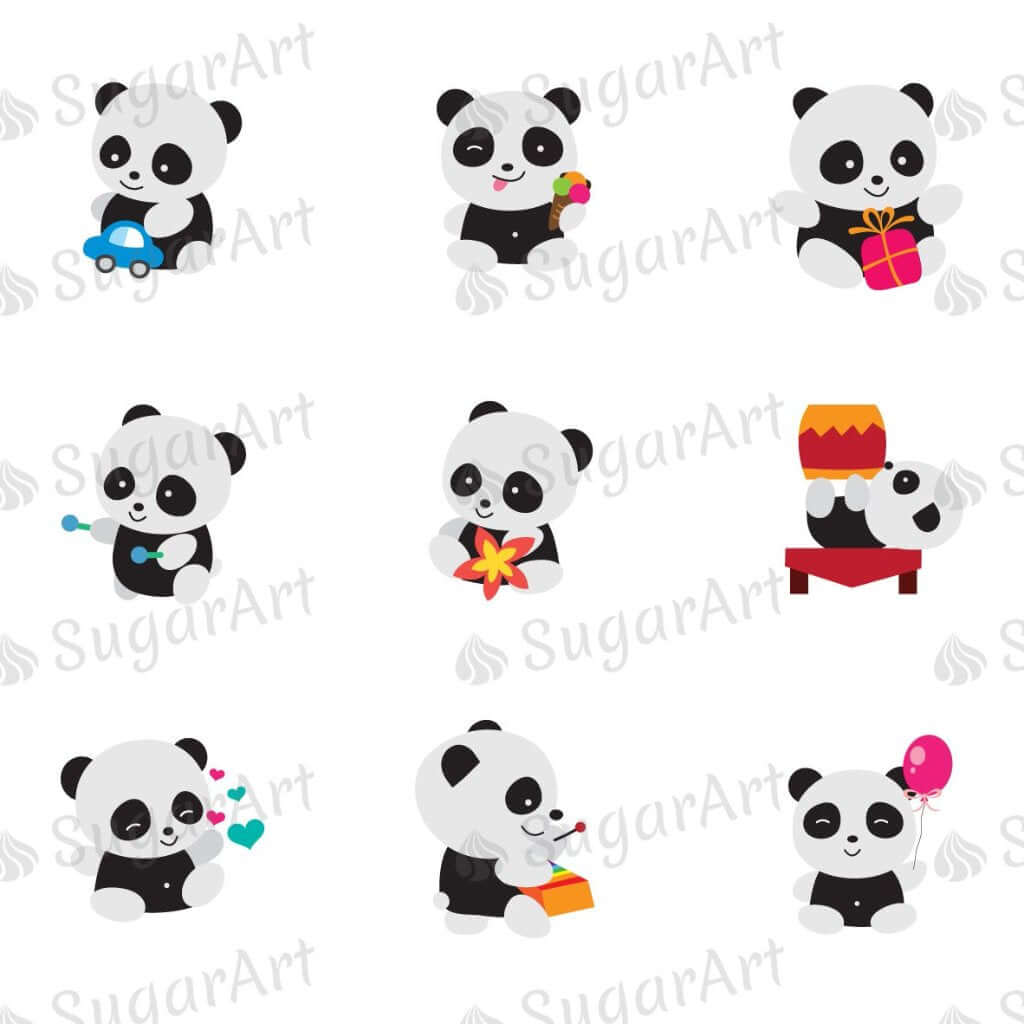 Playing Pandas - ESA054-Sugar Stamp sheets-Sugar Art