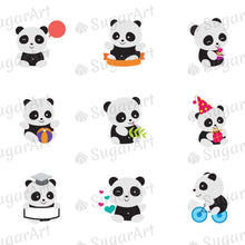 Load image into Gallery viewer, Playing Pandas - ESA054-Sugar Stamp sheets-Sugar Art