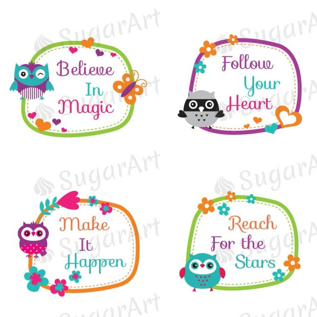 Inspirational Sayings with Owl Frames - 1.5 inch - ESA055