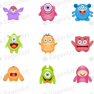 Cute Monsters - ESA074-Sugar Stamp sheets-Sugar Art