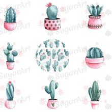 Load image into Gallery viewer, Watercolor Cactus Collection - ESA076-Sugar Stamp sheets-Sugar Art