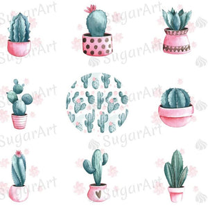Watercolor Cactus Collection - ESA076-Sugar Stamp sheets-Sugar Art