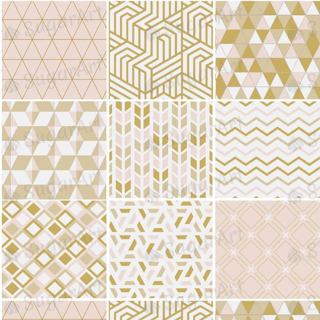 Golden Pink Geometric Pattern - ESA084-Sugar Stamp sheets-Sugar Art