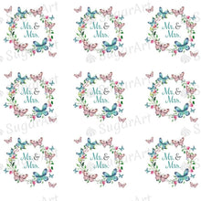 Load image into Gallery viewer, Mr. & Mrs. Butterfly Wreath - ESA091-Sugar Stamp sheets-Sugar Art