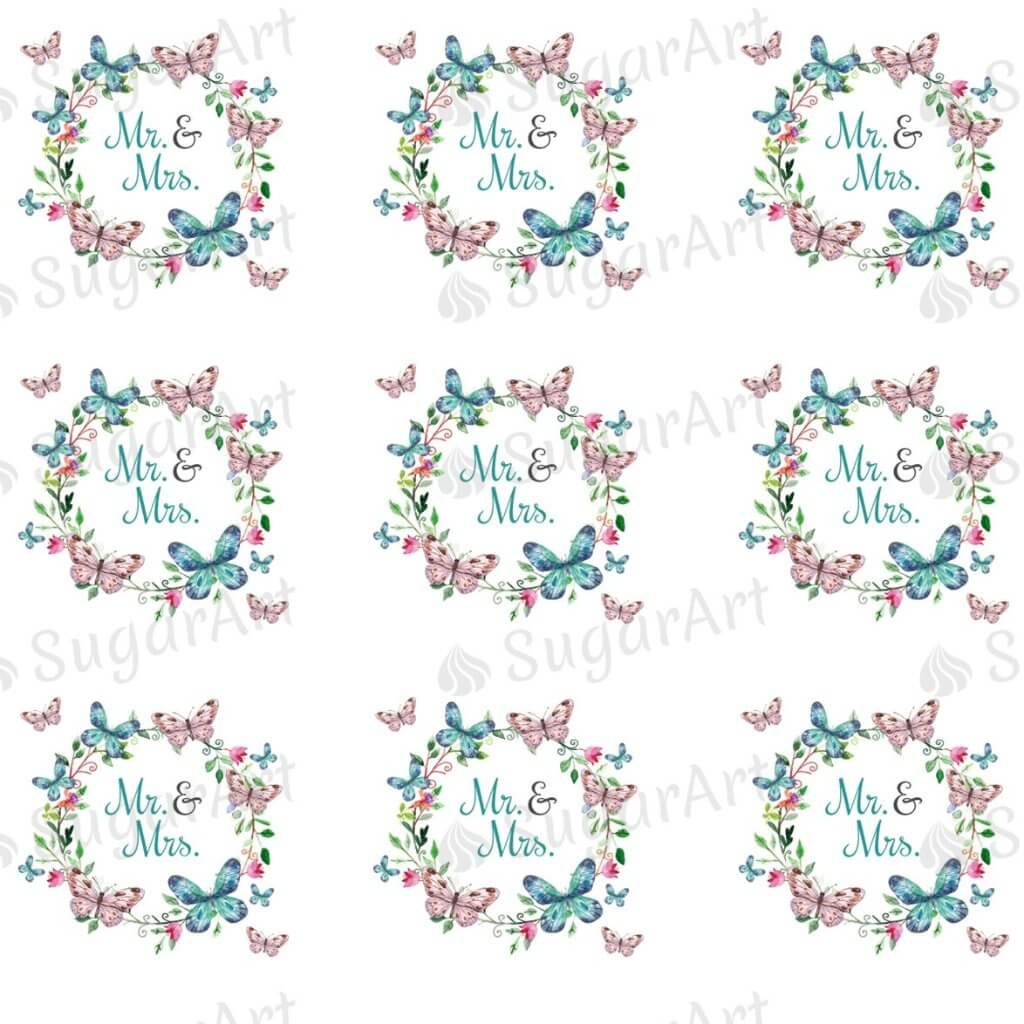 Mr. & Mrs. Butterfly Wreath - ESA091-Sugar Stamp sheets-Sugar Art