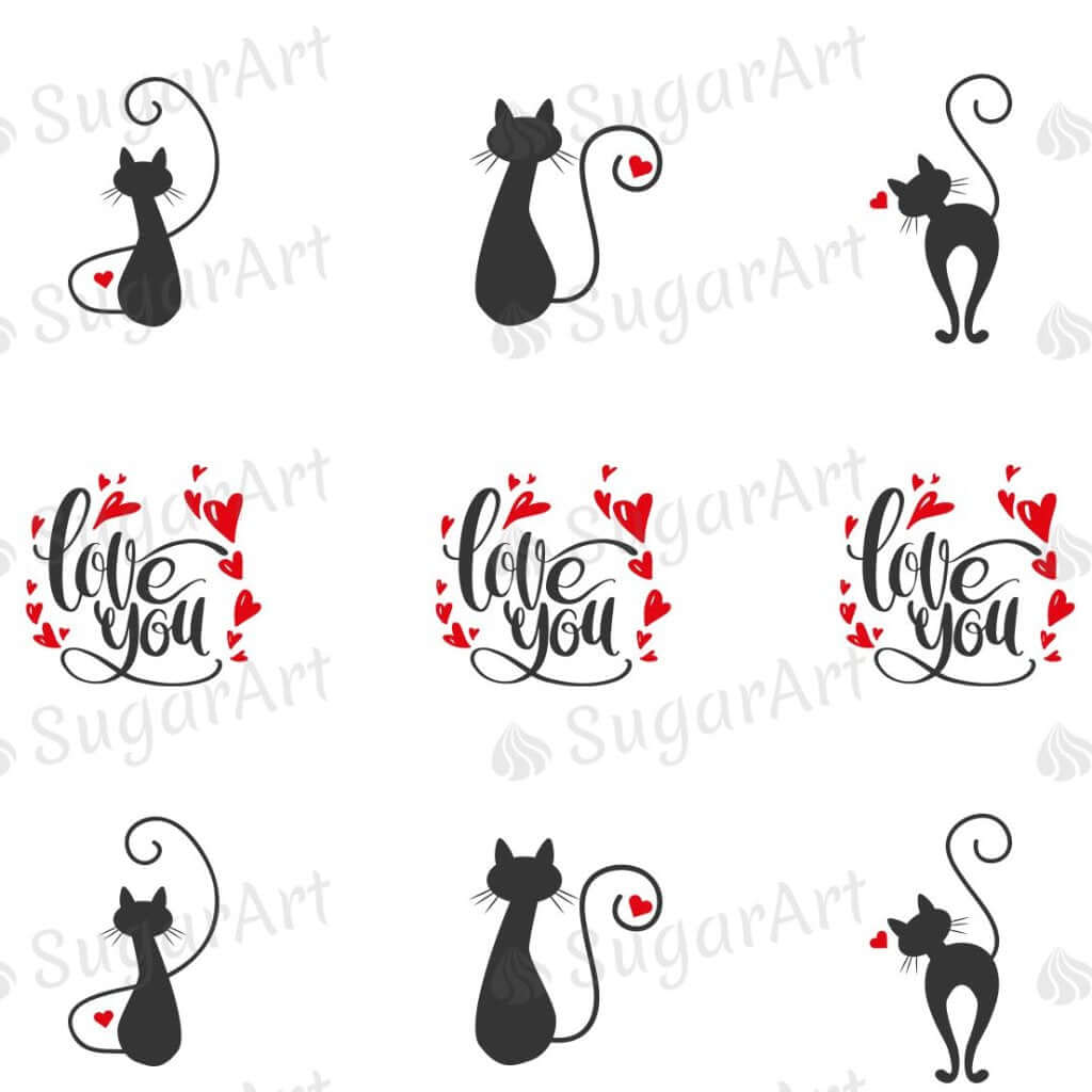 Cats in Love Silhouettes, Love You!  - ESA092