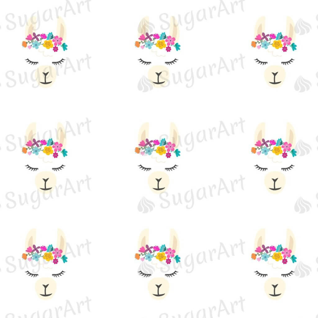 Cute Llama Face - ESA095-Sugar Stamp sheets-Sugar Art