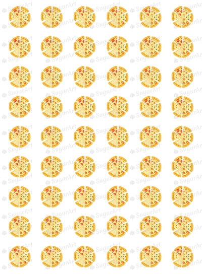 Pizza party meringue or chocolate transfer sheet
