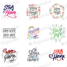 Load image into Gallery viewer, FREE Stay at Home, Stay Safe, Everything Will Be OK Quotes - ESA103-Sugar Stamp sheets-Sugar Art