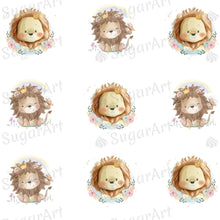 Load image into Gallery viewer, Cute Lion Cubs - ESA104-Sugar Stamp sheets-Sugar Art